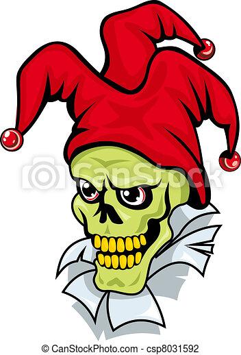 Joker skull on torned paper - csp8031592