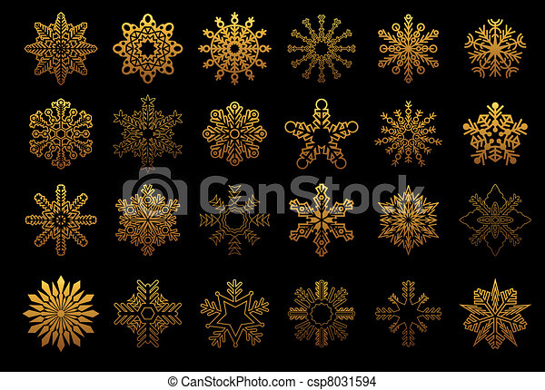 Set of golden snowflakes - csp8031594