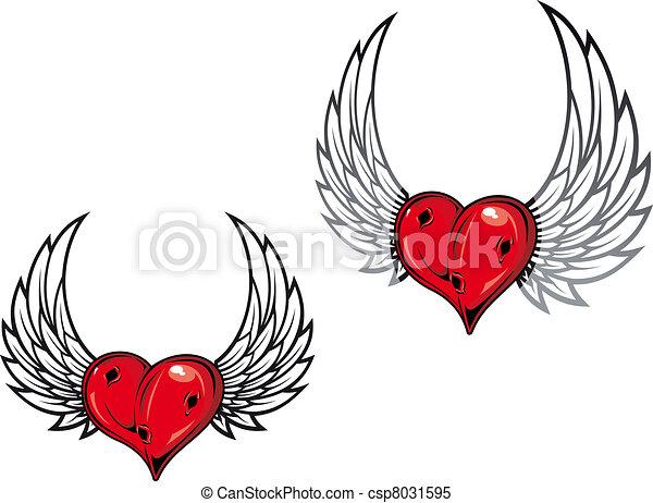 Damaged retro heart - csp8031595