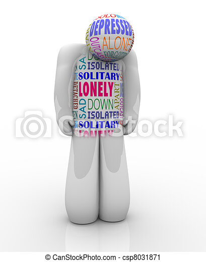 One Lonely Person Sad Depressed in Loneliness - csp8031871