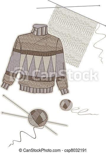 Warm brown wool sweater - csp8032191