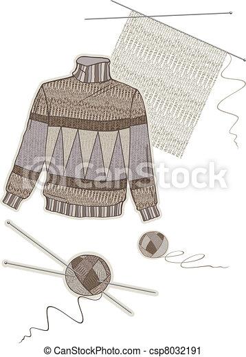 Warm brown wool sweater - csp8032191