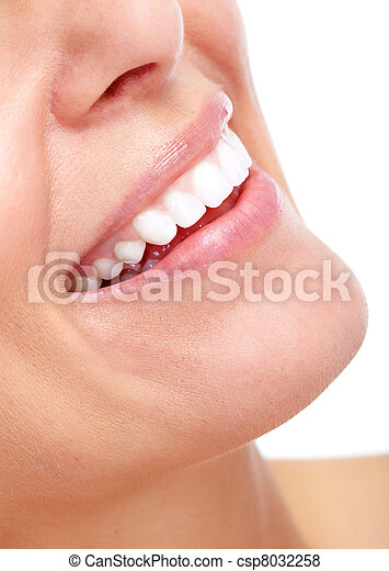 Beautiful woman smile and teeth. - csp8032258