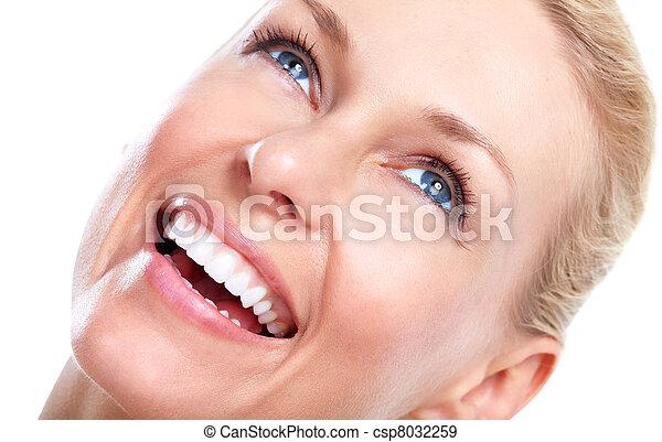 美麗, 微笑, 婦女, 牙齒 - csp8032259