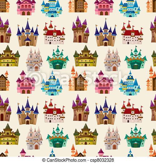 cartoon Fairy tale castle seamless pattern - csp8032328