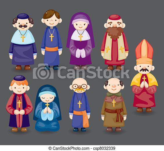 cartoon priest icon - csp8032339