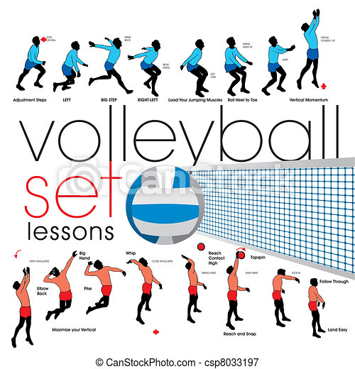 Volleyball lessons set  - csp8033197