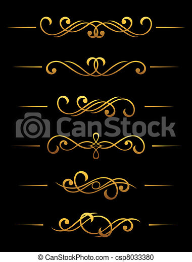 Golden vintage dividers and borders - csp8033380