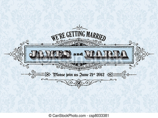 Vector Vector Vintage Wedding Announcement