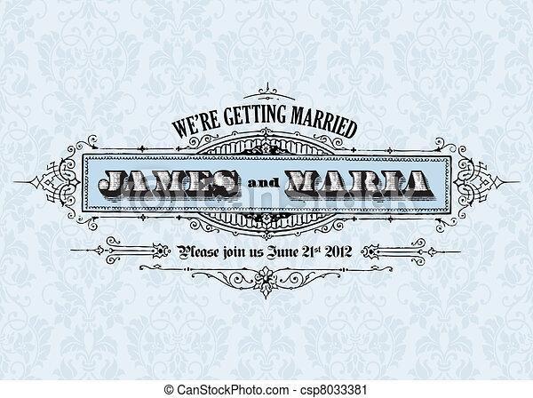 Vector Vintage Wedding Announcement - csp8033381