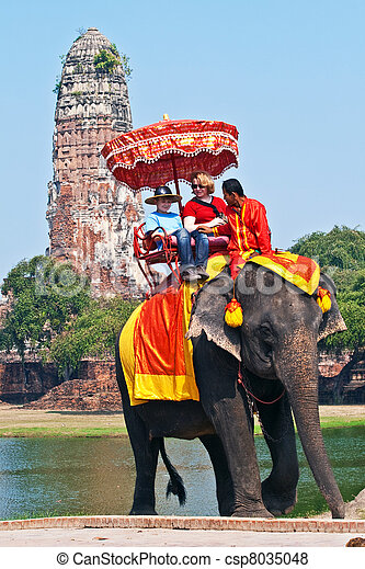 tourists on an elephant ride  in Ajutthaja - csp8035048