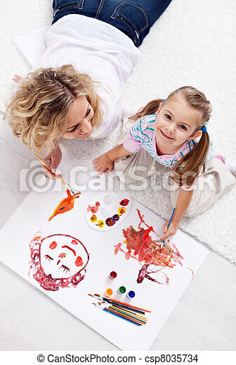 Painting with mom - csp8035734