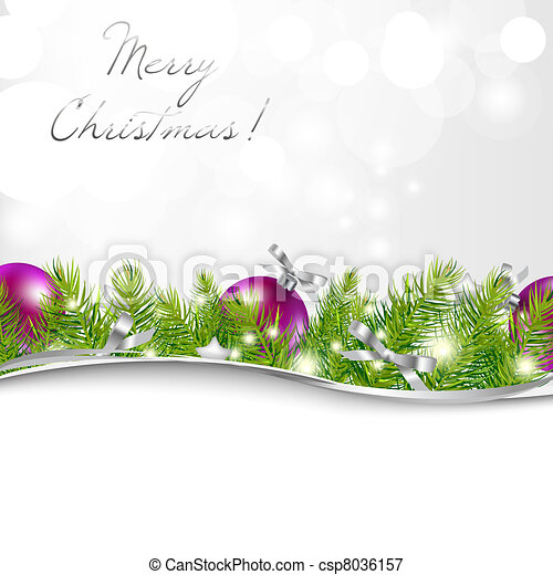 New Year Card With Garland And Ball - csp8036157
