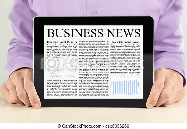Businessman Showing Tablet PC WIth Business News - csp8036266