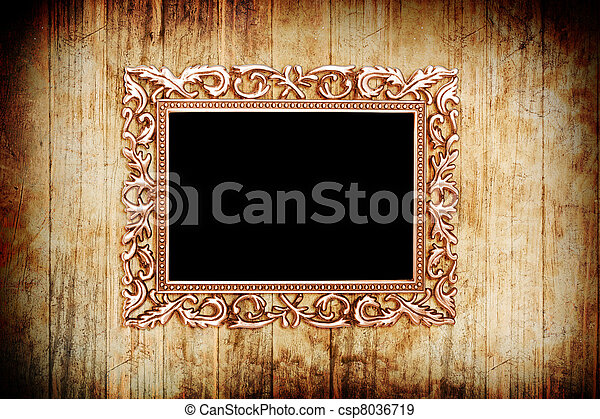 Banque de photographies de ancien style dor photo image cadre bois fo - Cadre photo style ancien ...