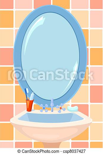 stock illustration of mirror in bathroom - illustration of mirror