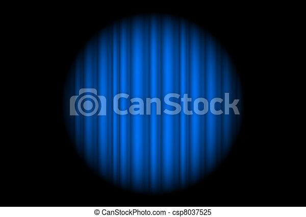Stage with blue curtain and big spot light - csp8037525