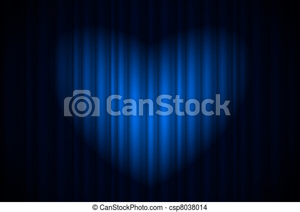 Stage with blue curtain and spotlight great, heart-shaped - csp8038014