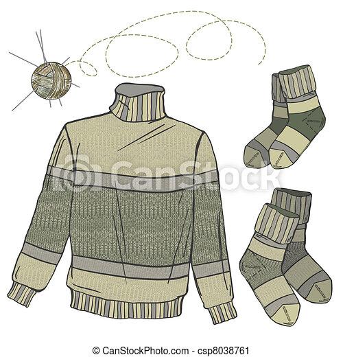 Wool sweater and socks - csp8038761