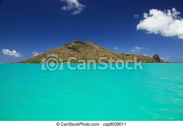 Dreamlike Colors of the Lagoon in Maupiti, French Polynesia. Full View of Maupiti Island in Background - csp8039011