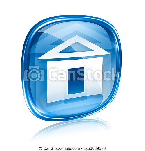 home icon blue glass, isolated on white background - csp8039570
