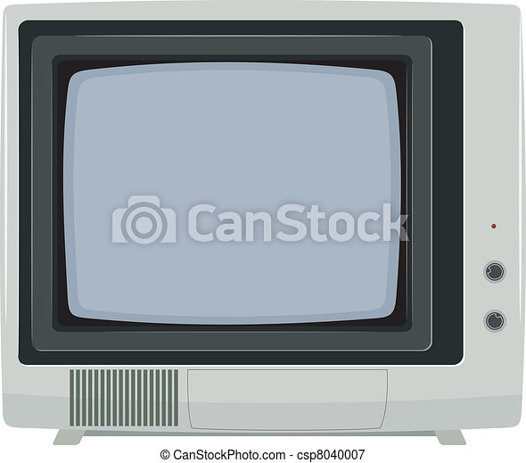 Vector illustration of an old TV set with plastic housing - csp8040007
