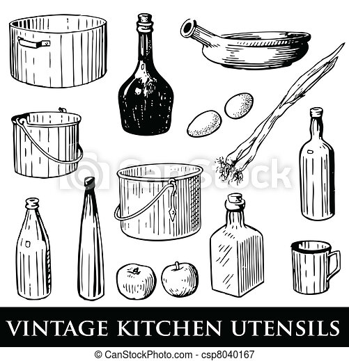 Kitchen Utensils Drawings Vintage Kitchen Utensils