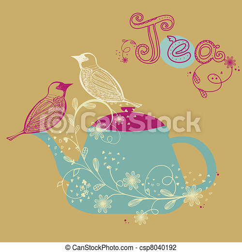 Birds couple on the teapot - csp8040192