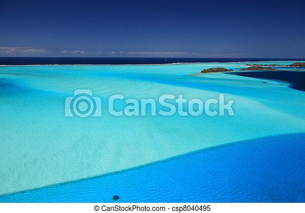 Bora Bora Lagoon, French Polynesia from above. Dreamlike colors. - csp8040495