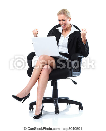 Happy business woman with laptop. - csp8040501