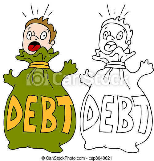 Vector Clip Art of Debt Trap - An image of a man trapped in a ...