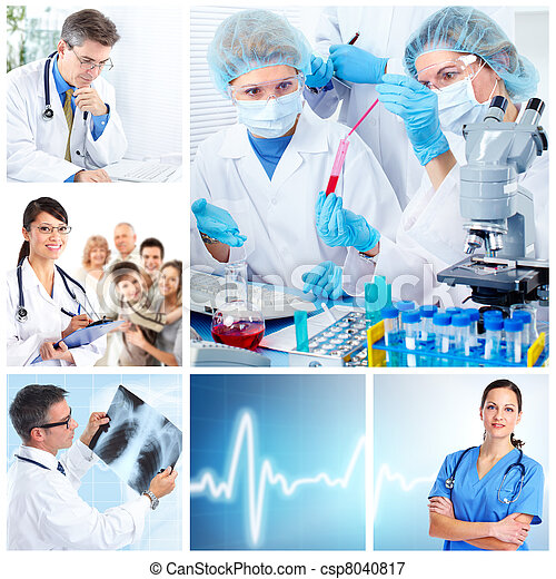 médico, medicos, laboratorio, collage - csp8040817