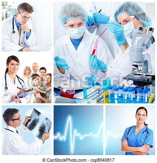 médico, colagem, laboratório, doutores - csp8040817