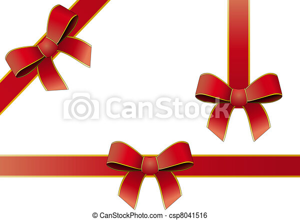 silk tied red ribbon - csp8041516