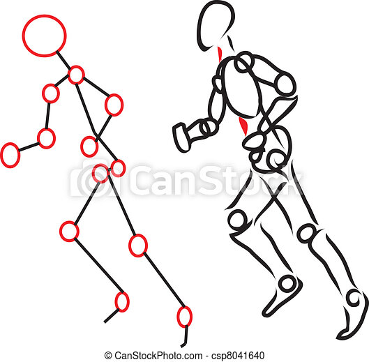 Vector Clipart of Human body running - character with points of ...