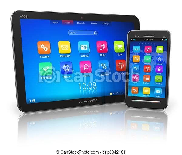 clipart de pc touchscreen smartphone tablette noir lustr csp8042101 recherchez des. Black Bedroom Furniture Sets. Home Design Ideas