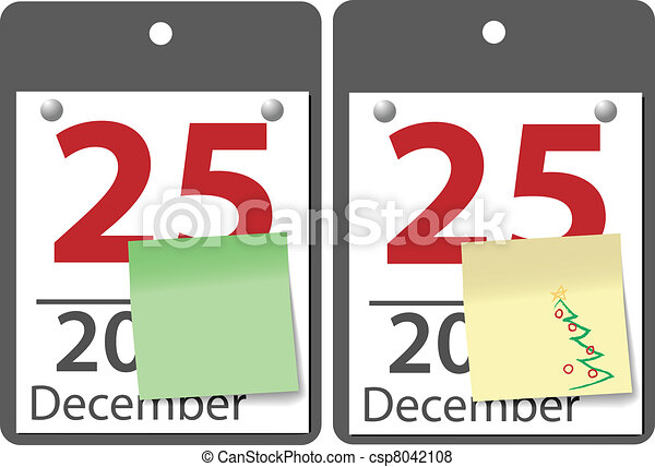 Christmas sticky note calendar year date - csp8042108