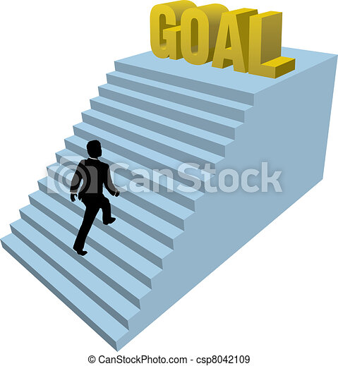Business person climbs steps achiev - csp8042109