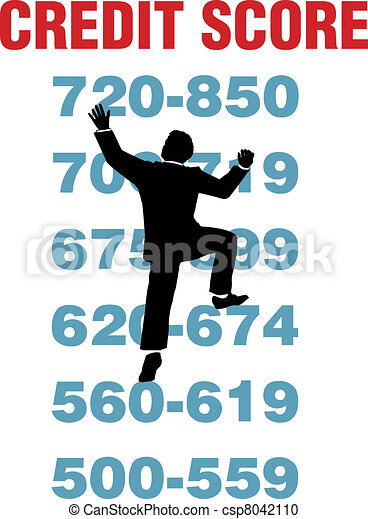 Business person climb better credit score - csp8042110