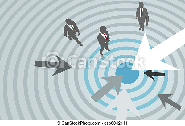 Business people arrows target marketing center - csp8042111