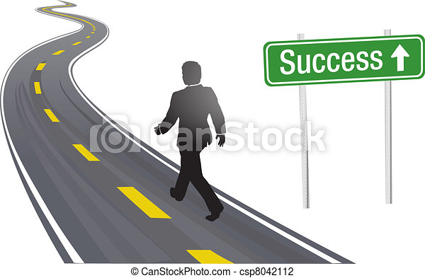 Business man walk road sign to Success - csp8042112
