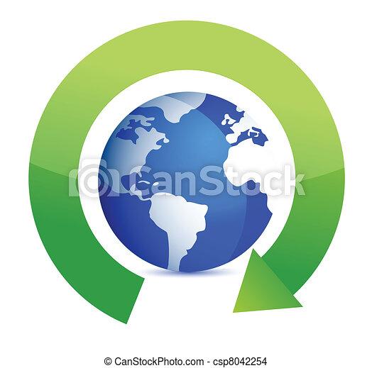 green round arrows around globe - csp8042254