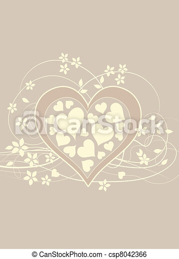 Soft and pretty beige love background with heart  - csp8042366
