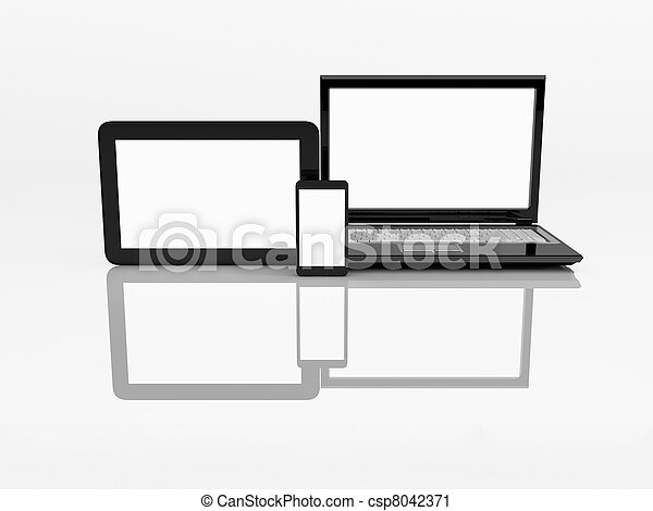 Electronics. Laptop, mobile phone and tablet pc. 3d  - csp8042371