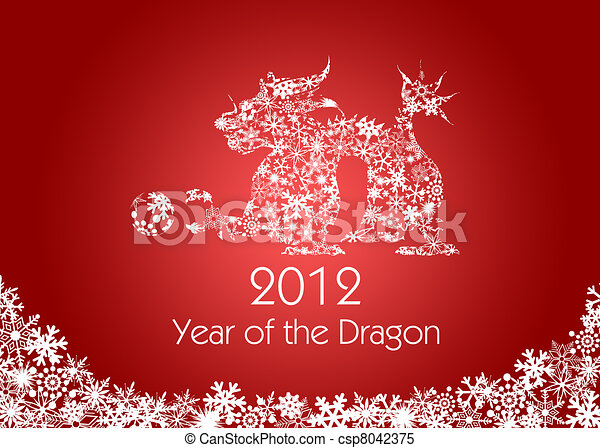 Chinese New Year Dragon with Snowflakes Pattern Red - csp8042375