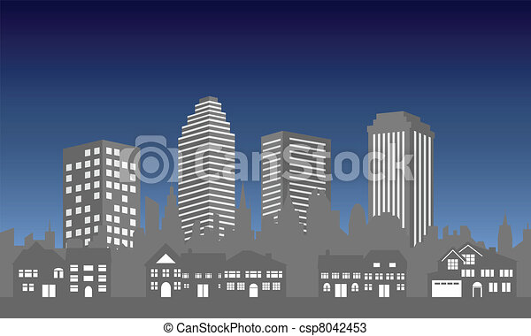 City skyline with houses - csp8042453