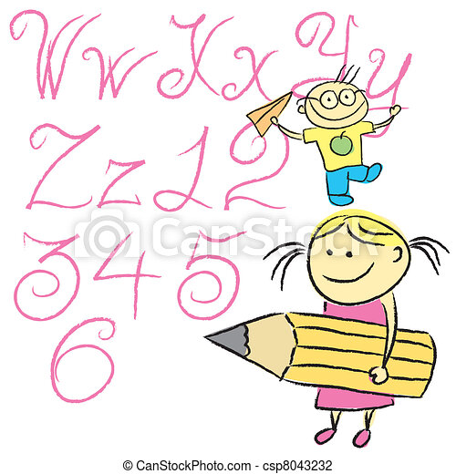 children calligraphy letters 04 - csp8043232