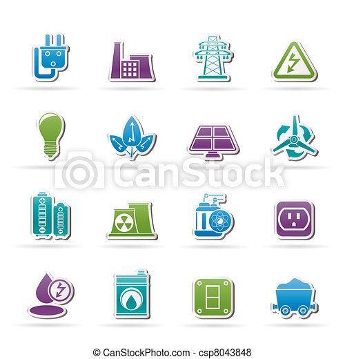 power, energy and electricity icons - csp8043848