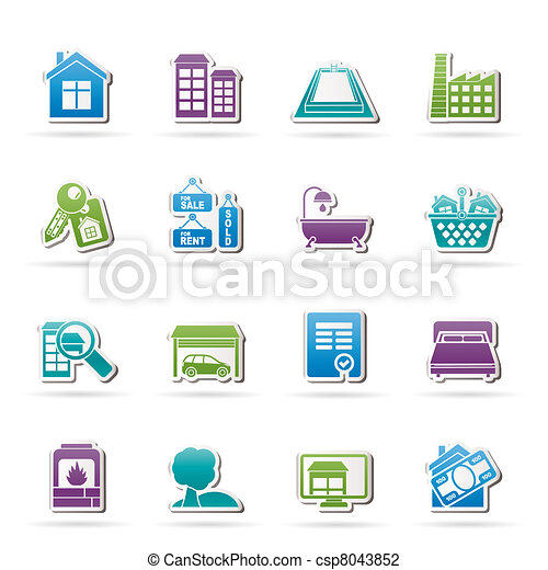 Real Estate objects and Icons  - csp8043852