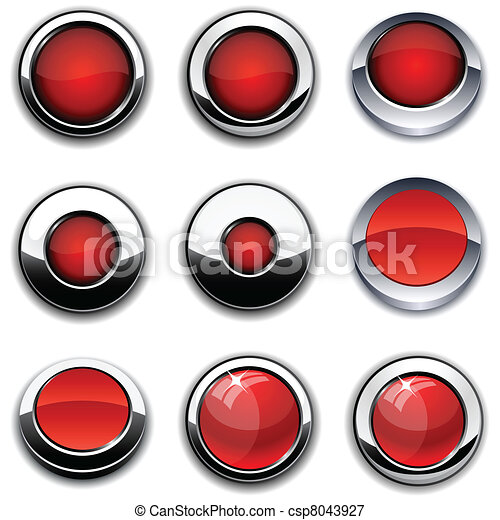 Red round buttons with chrome borders. - csp8043927